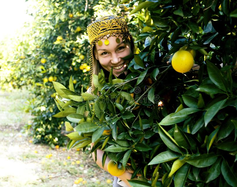 Pretty islam woman in orange grove smiling, real muslim girl che. Erful close up royalty free stock image