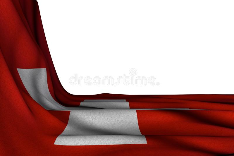 Pretty national holiday flag 3d illustration - isolated mockup of Switzerland flag hangs diagonal on white with free space for stock illustration