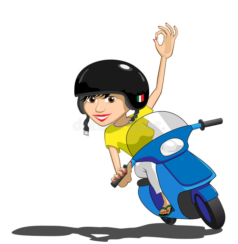 Download Pretty Italian Scooter Girl Stock Vector - Illustration of italian, helmet: 16352384