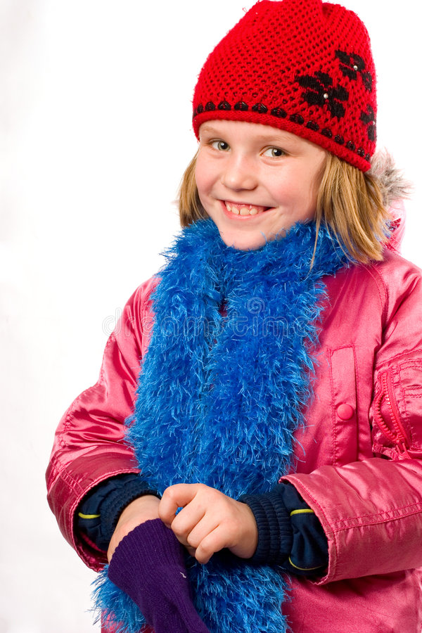 Download Pretty Joyful Little Girl Dressed Winter Clothes I Stock Photo - Image of person, blond: 4143886