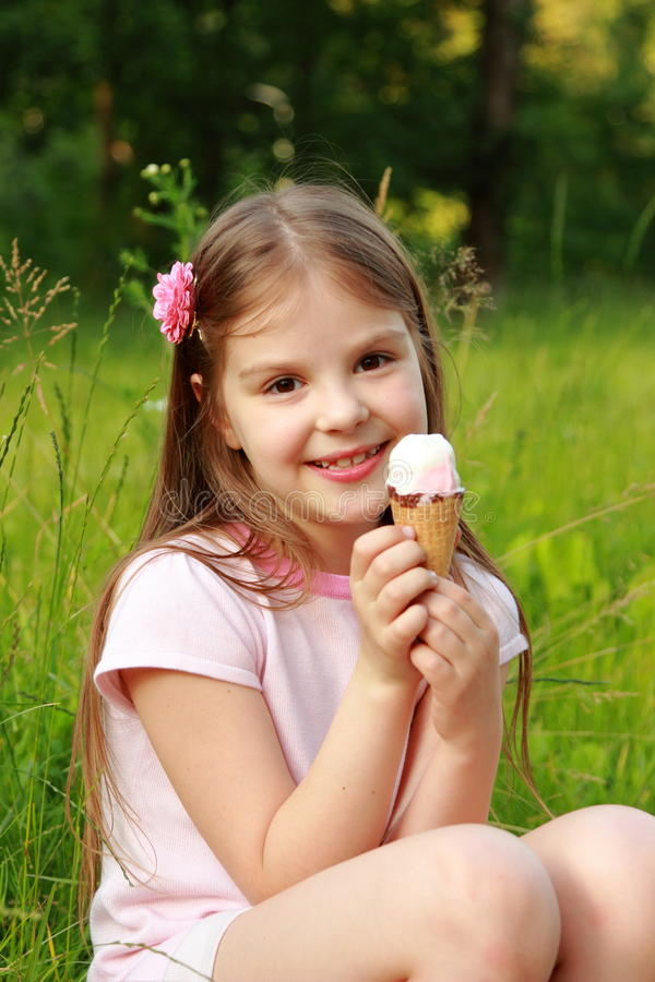 Beautiful Eat In Kitchens: Pretty Kid With Ice-cream Stock Photo
