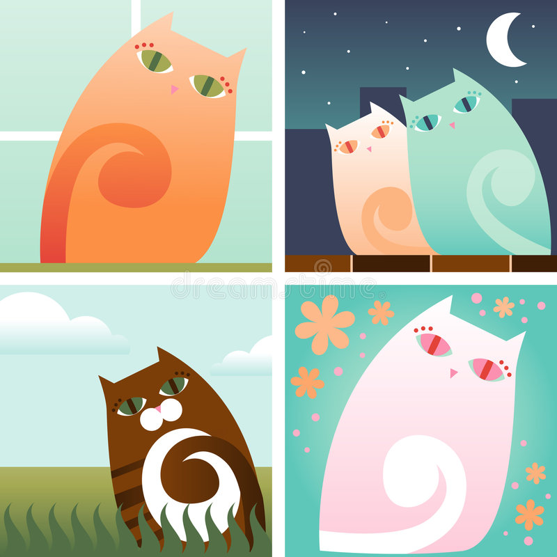 Pretty Kitty. Four pretty kitty scenes: Orange kitty in the window, Kitty couple in the city at night, Striped brown kitty outside and Pink kitty surrounded by royalty free illustration