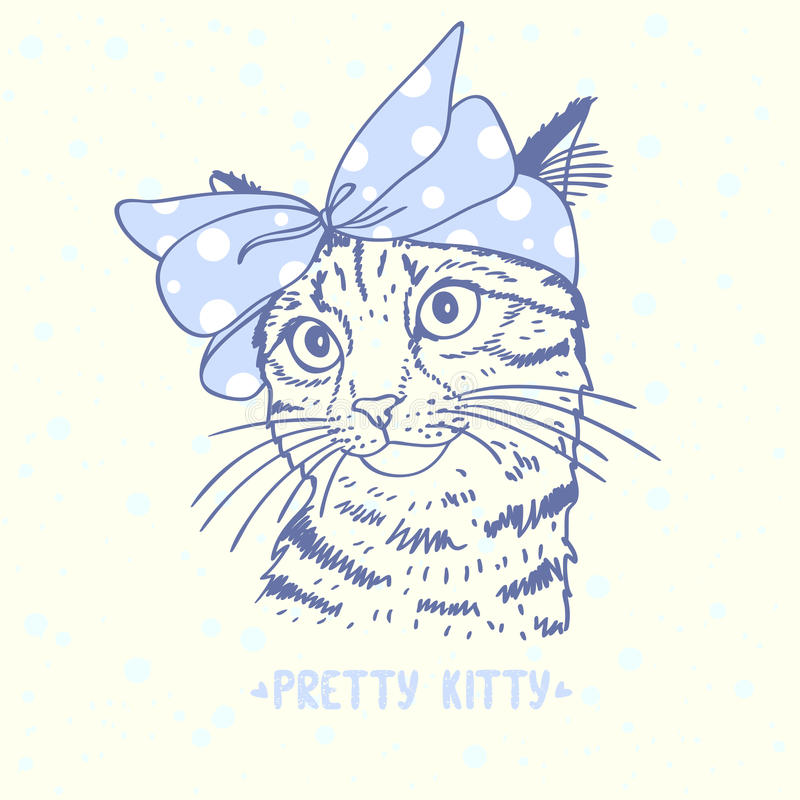 Pretty kitty. Beautiful silhouette hand drawn cute kitty with a bow on head stock illustration