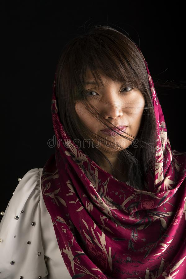 Pretty Korean woman in portrait. royalty free stock photos