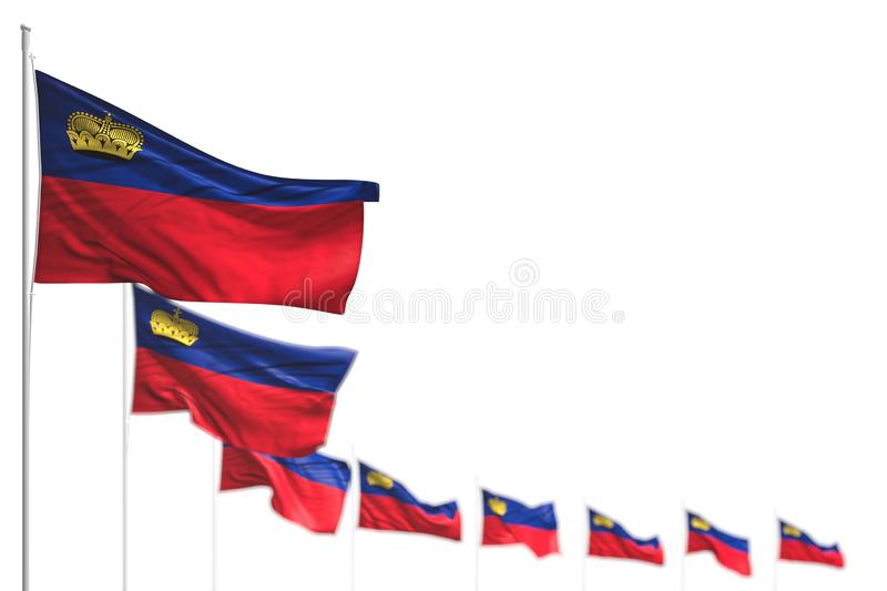 Pretty labor day flag 3d illustration - Liechtenstein isolated flags placed diagonal, illustration with selective focus and place. Cute Liechtenstein isolated vector illustration
