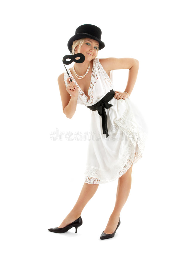 Pretty lady with black mask stock photo