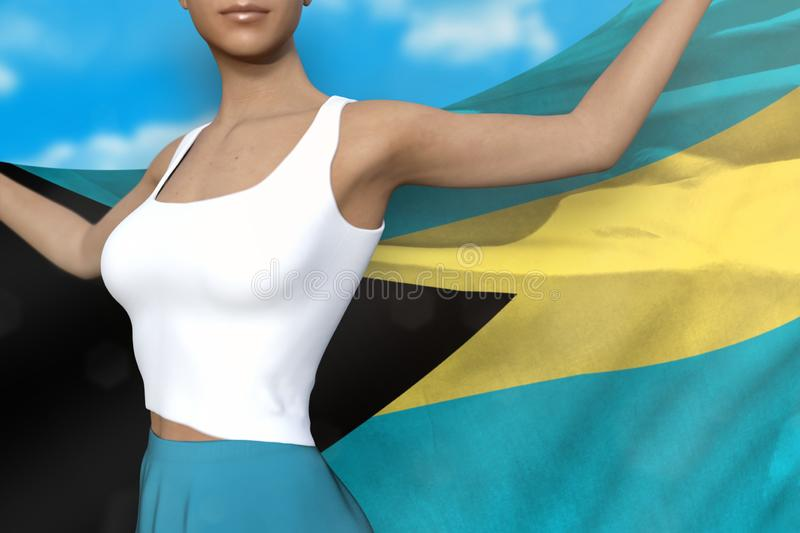 Cute lady in bright skirt holds Bahamas flag in hands behind her back on the cloudy sky background - flag concept 3d illustration. Pretty lady in bright skirt is stock illustration