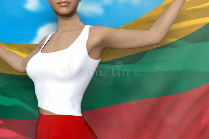 Beautiful lady in bright skirt holds Lithuania flag in hands behind her back on the cloudy sky background - flag concept 3d. Pretty lady in bright skirt is royalty free illustration
