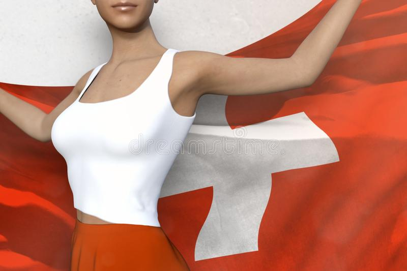 Pretty lady in bright skirt holds Switzerland flag in hands behind her back on the white background - flag concept 3d illustration stock illustration