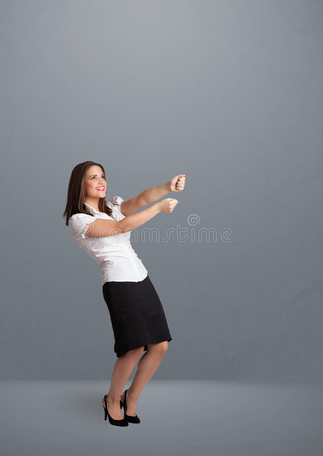 Download Pretty Lady Gesturing With Copy Space Stock Image - Image: 30599285