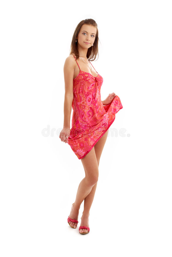 Free Pretty Lady In Red Dress Stock Image - 2550101