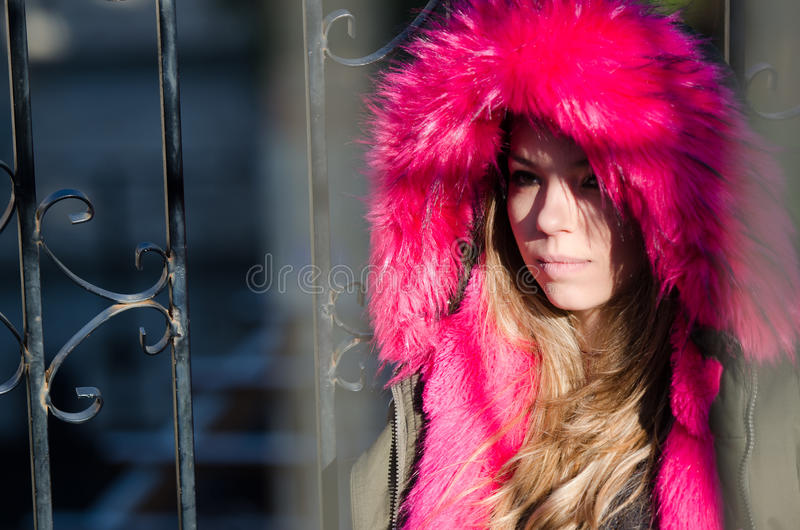 Pretty lady outside in cold weather royalty free stock photos