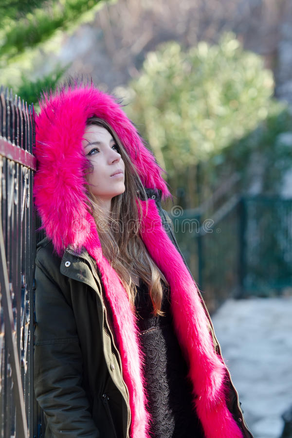 Pretty lady outside in cold weather stock photo