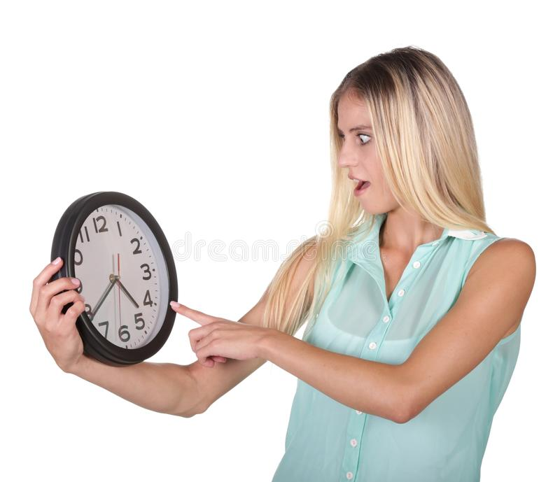 Download Pretty Lady Pointing To Clock Stock Image - Image: 39343379