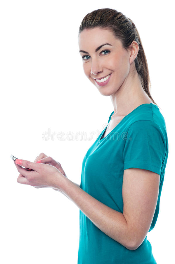 Pretty Lady Sending Text Message Royalty Free Stock Photo