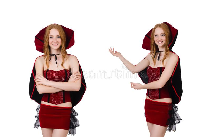 Pretty lady in velvet bordo dress with cap isolated on white royalty free stock photos