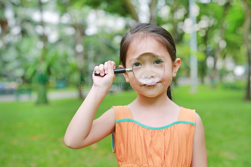 Pretty little Asian child girl with magnifying glass looks at flower in summer park stock images