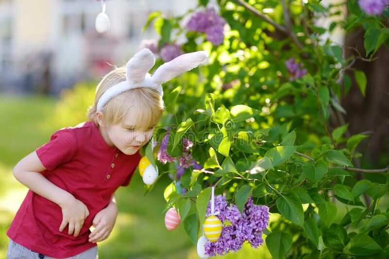 Pretty little boy wearing bunny ears hunting for easter eggs in spring park on Easter day royalty free stock photo