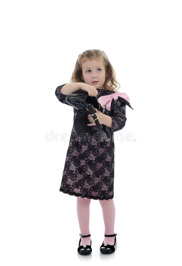 Pretty little child girl in black dress royalty free stock photo