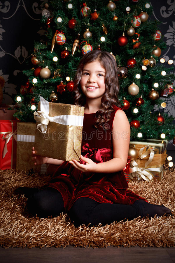 Free Pretty Little Girl At Christmas Royalty Free Stock Photo - 45751095