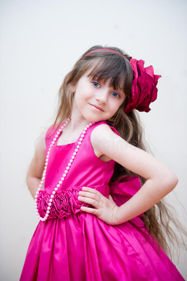Pretty Little Girl In Beautiful Pink Dress Stock Image - Image Of Headband, Background -7777