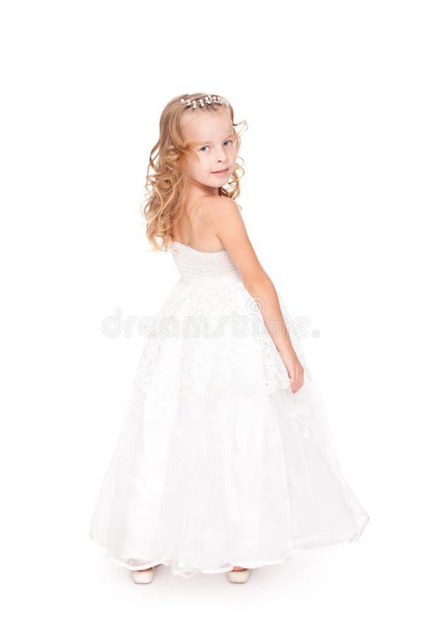 Download Pretty Little Girl In Beautiful White Dress Stock Image - Image: 20765339