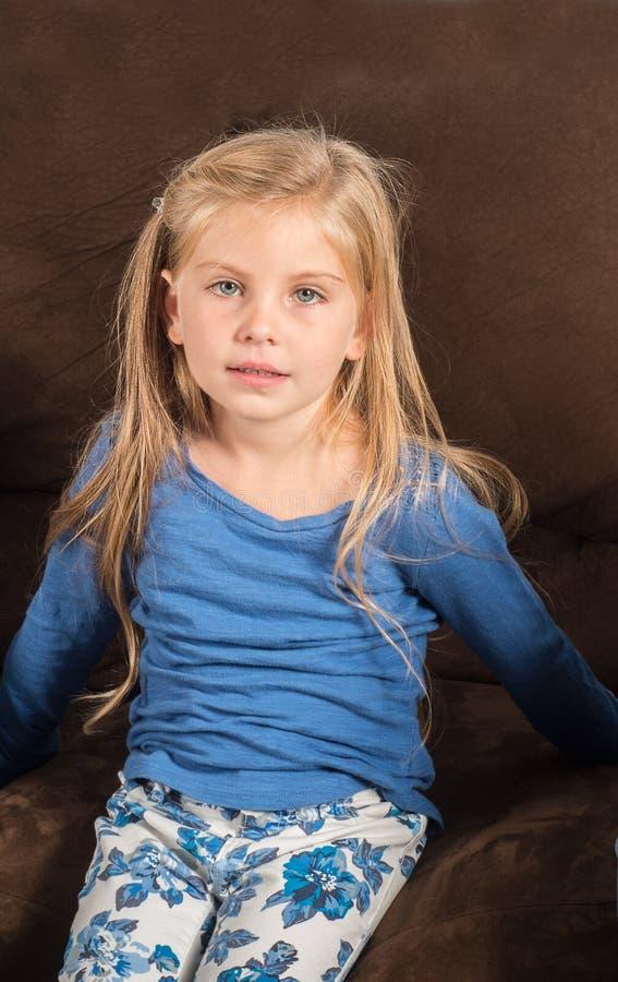 pretty little girl doesnt feel good stock photo image. Black Bedroom Furniture Sets. Home Design Ideas