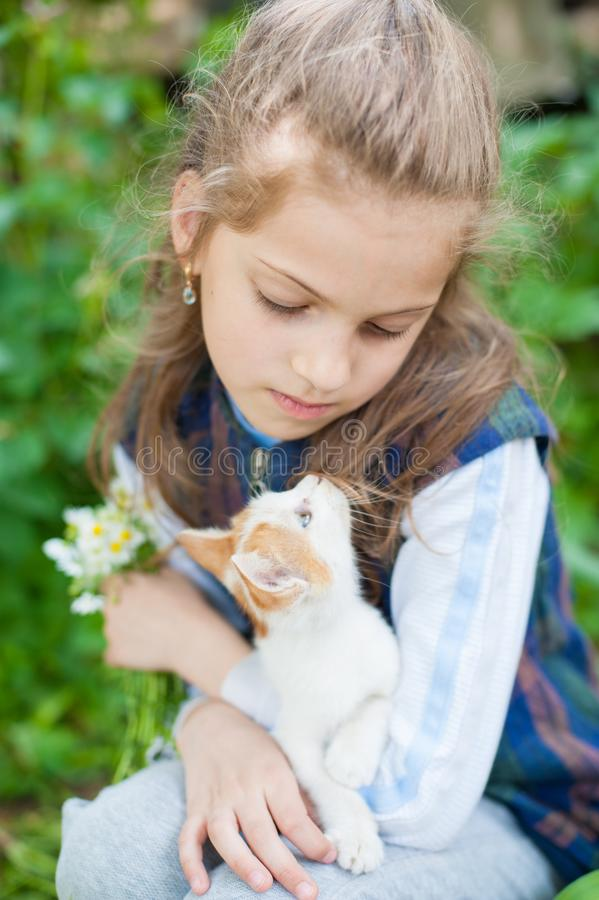 Handsome little girl holding small cat on her knees looking each other in summer day. Pretty little girl holding small cat on her knees looking each other in royalty free stock images