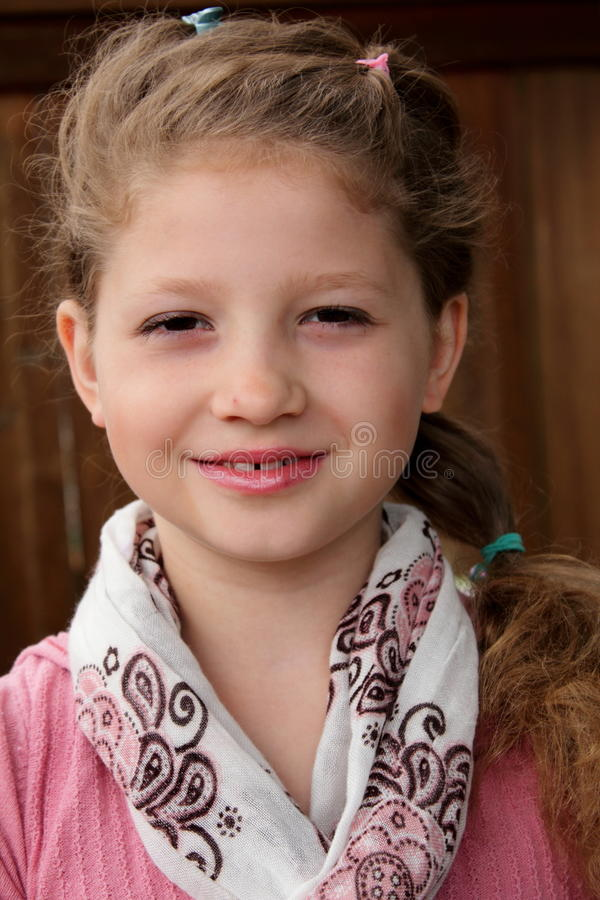 pretty little girl with pony tail stock photo image. Black Bedroom Furniture Sets. Home Design Ideas