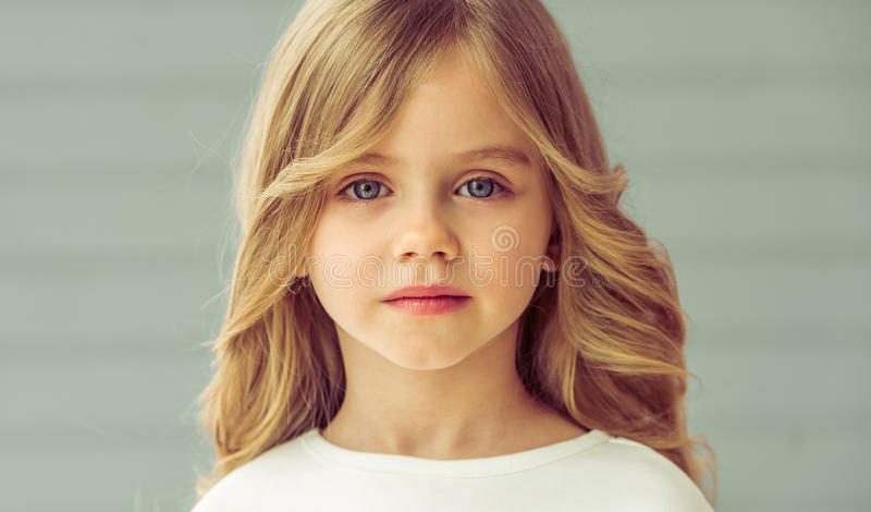 pretty little girl stock image image of cute blue. Black Bedroom Furniture Sets. Home Design Ideas