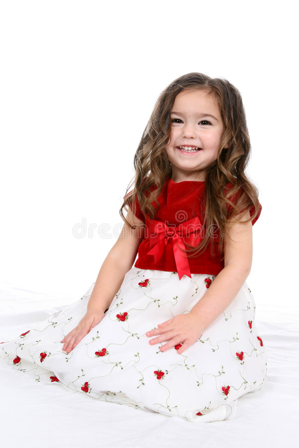 Pretty Little Girl In Red And White Dress Stock Image