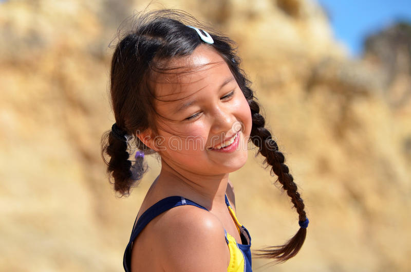 Pretty little girl spinning royalty free stock photography
