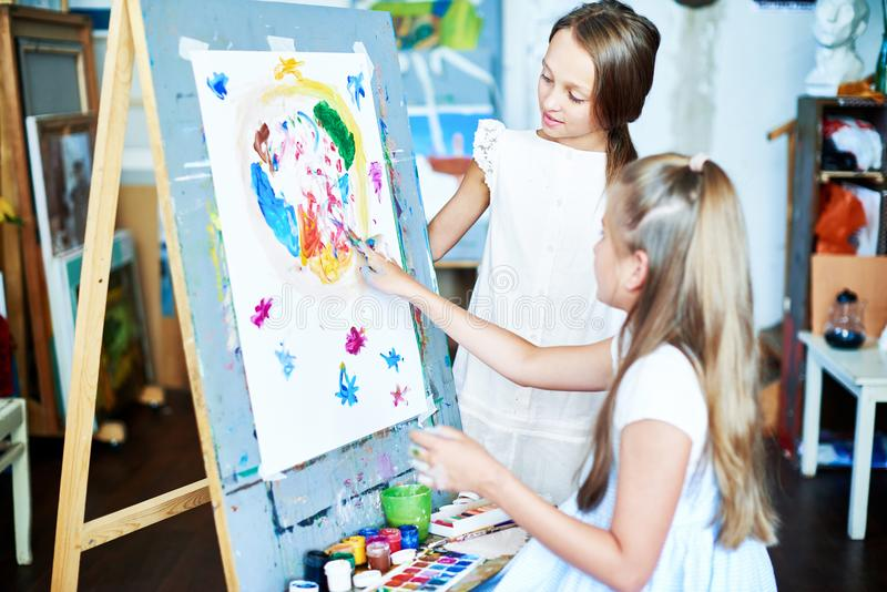 Creating Finger Painting royalty free stock photos