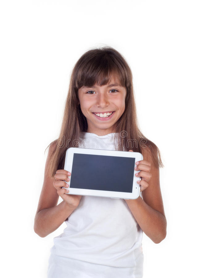 Pretty little girl with a Tablet PC stock image