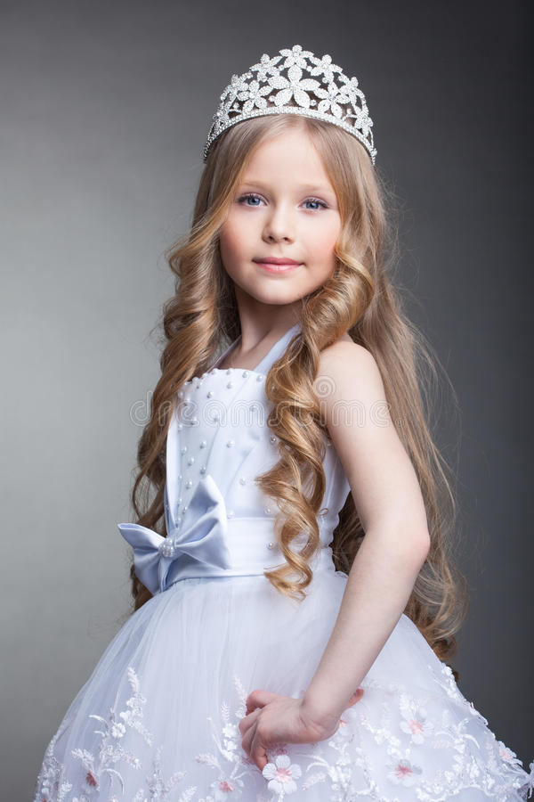 pretty little girl in tiara stock photo image of white. Black Bedroom Furniture Sets. Home Design Ideas