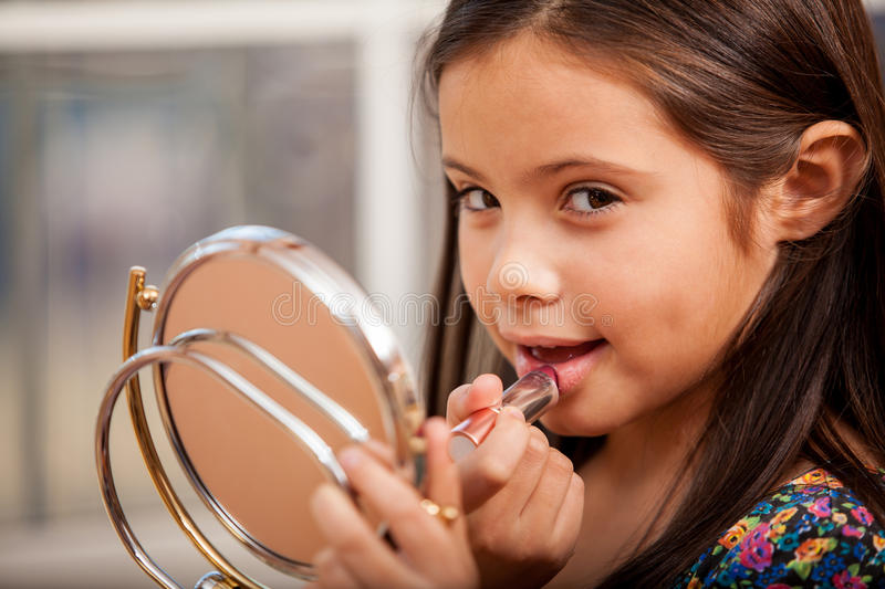 Pretty Little Girl Wearing Makeup Royalty Free Stock Photo