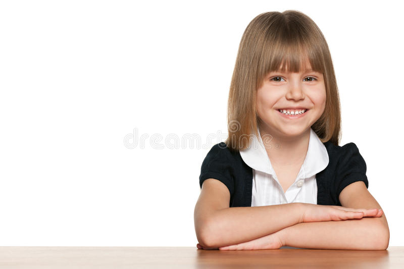Pretty little schoolgirl stock image