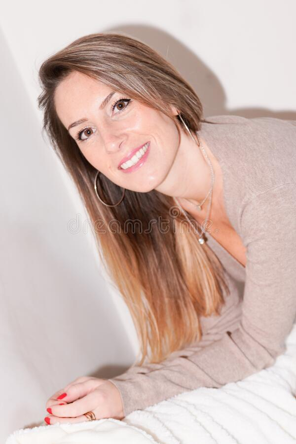 Pretty long hairs beautiful young  woman smiling portrait stock images