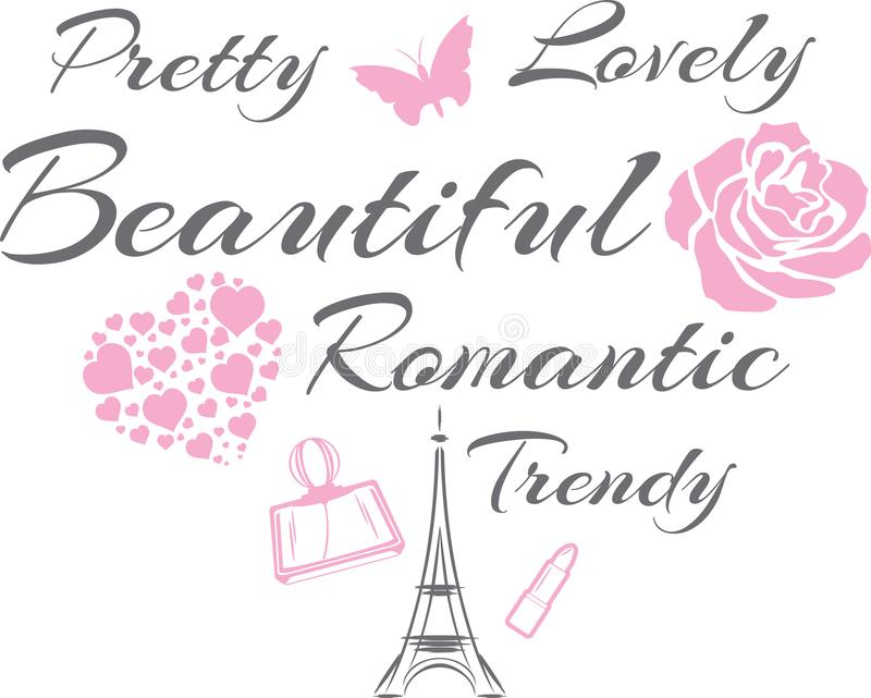 Pretty and lovely. Beautiful romantic design royalty free stock image