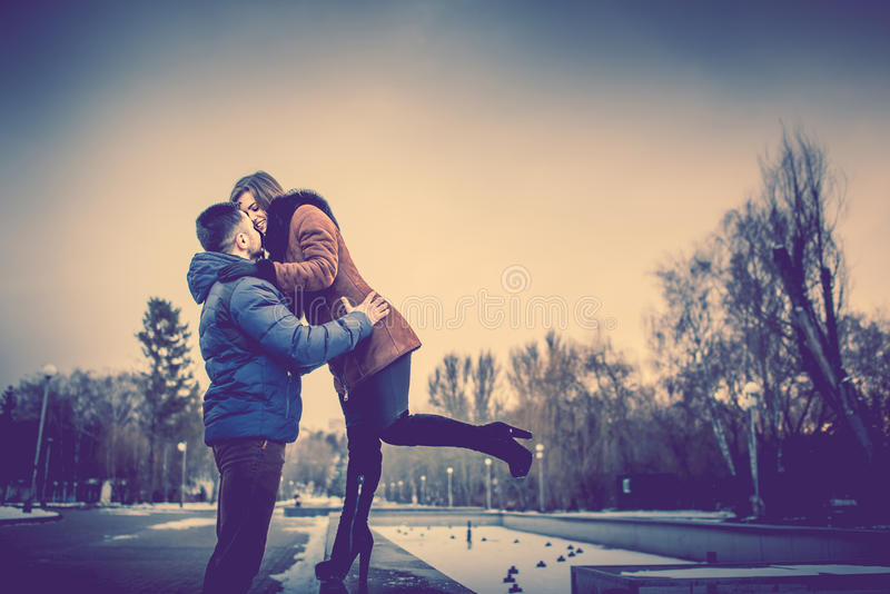 Pretty Lovely Couple Outdoor Stock Photo Image of love caucasian