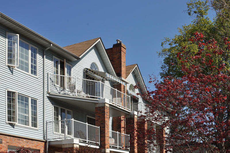 Pretty low-rise apartment building stock images