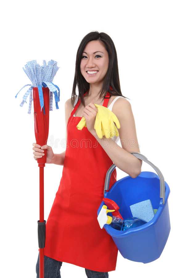 Download Pretty Maid Holding Cleaning Supplies Stock Photo - Image of asian, bucket: 7574072