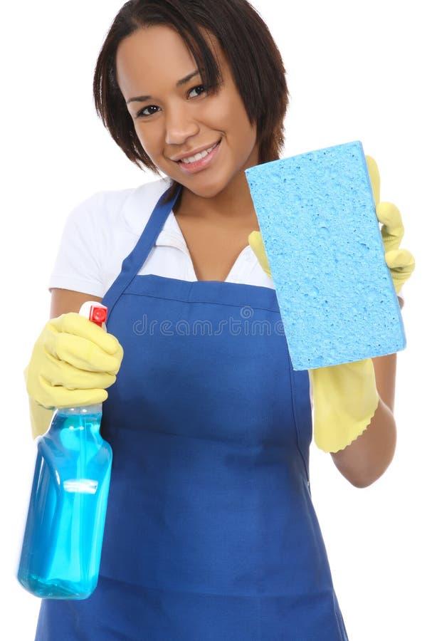Free Pretty Maid Washing With Sponge Stock Photo - 7552300