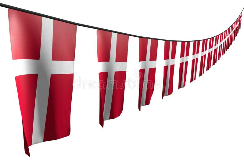 Pretty many Denmark flags or banners hanging diagonal with perspective view on string isolated on white - any holiday flag 3d. Cute national holiday flag 3d royalty free illustration