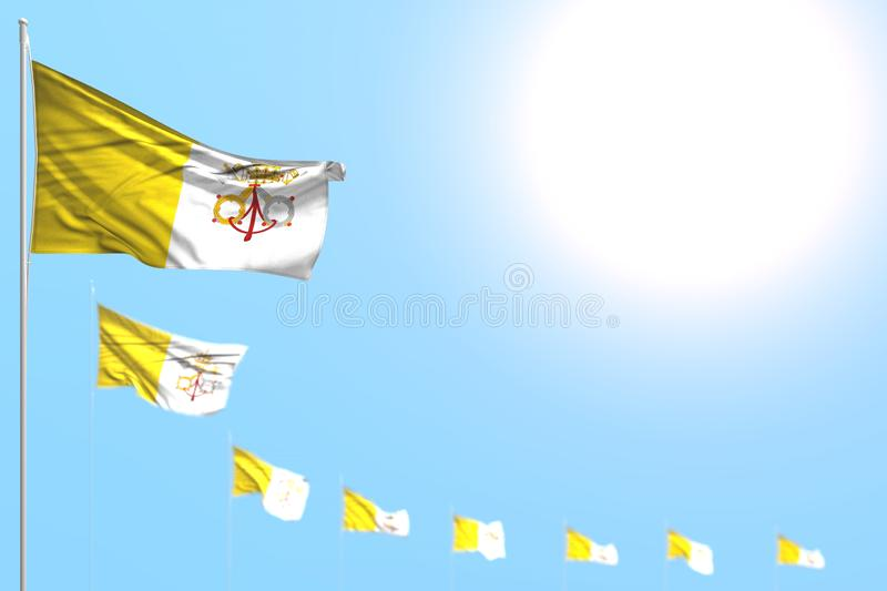 Beautiful labor day flag 3d illustration - many Holy See flags placed diagonal with selective focus and empty space for your. Pretty many Holy See flags placed royalty free illustration