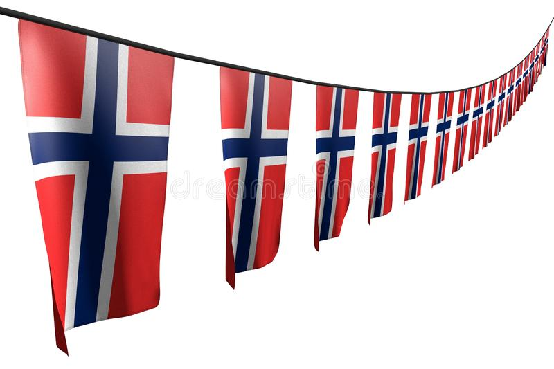 Pretty many Norway flags or banners hanging diagonal with perspective view on string isolated on white - any feast flag 3d. Pretty memorial day flag 3d royalty free illustration