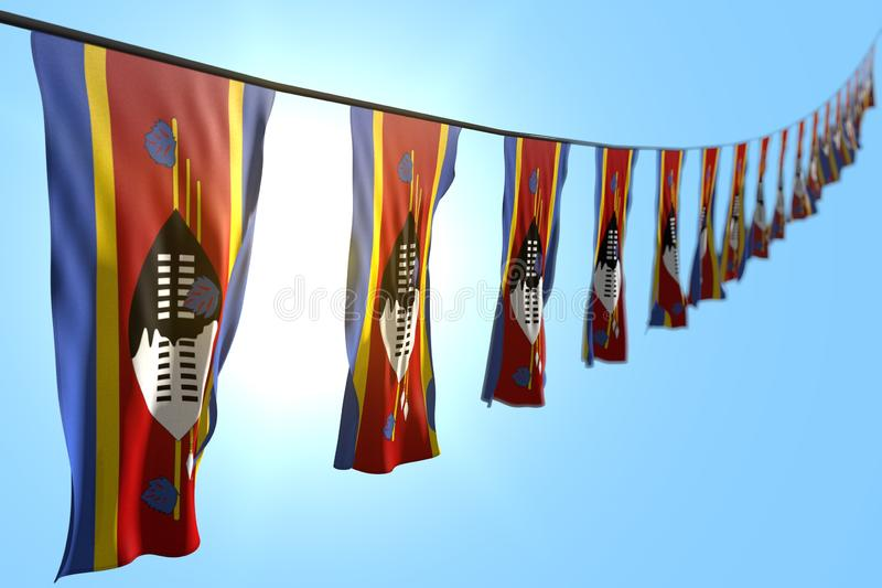 Pretty many Swaziland flags or banners hangs diagonal on rope on blue sky background with selective focus - any occasion flag 3d. Wonderful celebration flag 3d vector illustration