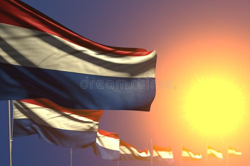 Cute many Netherlands flags on sunset placed diagonal with bokeh and space for your text - any celebration flag 3d illustration. Pretty memorial day flag 3d royalty free illustration