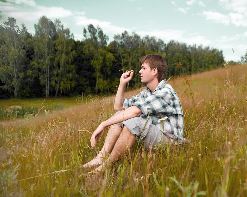 Download Pretty men on a meadow stock photo. Image of nature, laughing - 14973196