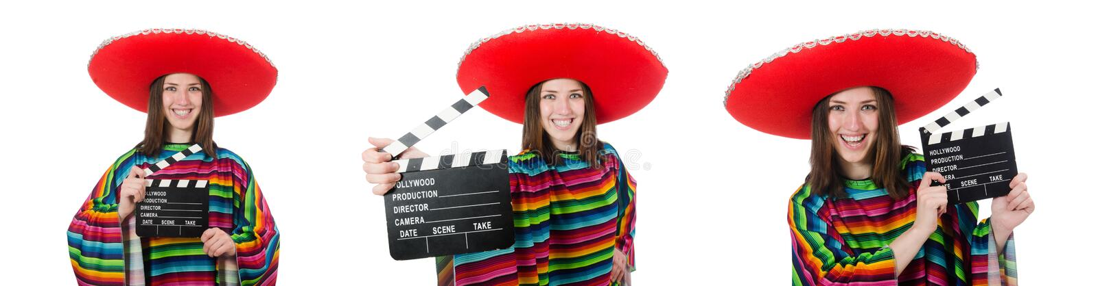 Pretty mexican girl in vivid pocho isolated on white stock photos